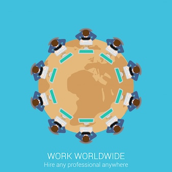 Global remote corporate work top view concept. people sitting at round meeting table with world map vector illustration.