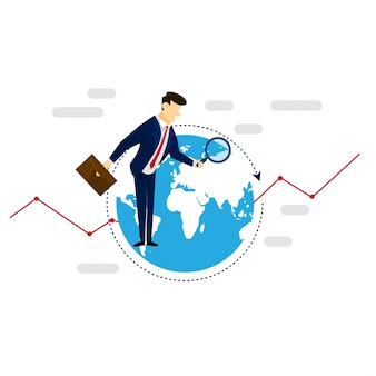 Global research businessman concetto di illustrazione della strategia di business