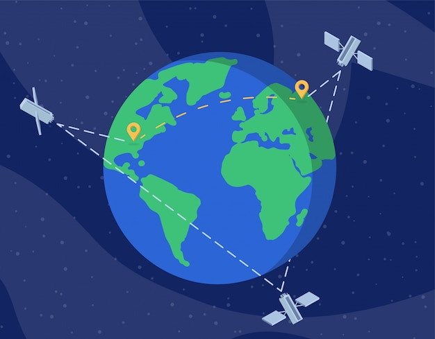 Global satellite network flat vector illustration