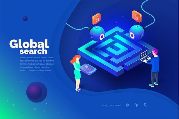 글로벌 검색 노트북을 가진 남자가 글로벌 추적 시스템과 상호 작용합니다.