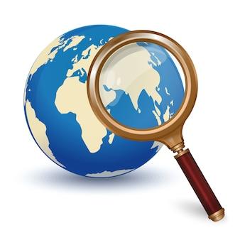 グローバル検索。グローブと虫眼鏡。コンセプトデザイン。