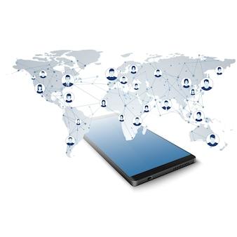 グローバルソーシャルネットワーク。ネットワーク接続。モバイルアプリでのグローバルネットワークへのアクセス。