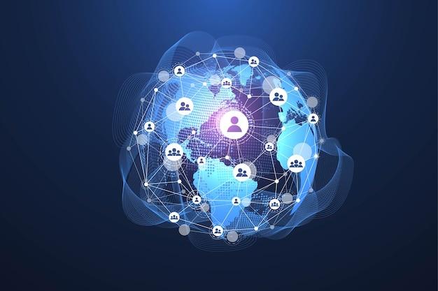 Глобальная социальная сеть. концепция сети и подключения к данным. интернет и технологии во всем мире. динамические волны, соединенные световыми линиями сплетений. виртуальная цифровая композиция. векторная иллюстрация.