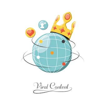 Global sphere with crown and viral content related icons