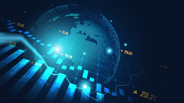 Global stock market or forex trading graph background