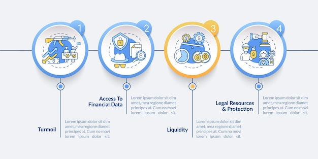 Глобальные акции выпускает векторный инфографический шаблон. суматоха, элементы дизайна представления финансовых данных. визуализация данных в 4 шага. график процесса. макет рабочего процесса с линейными значками