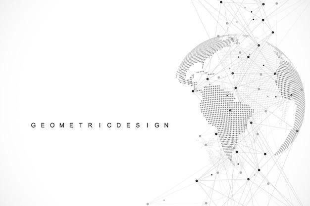 Глобальная структура сети и концепция подключения к данным. социальное сетевое общение в глобальных компьютерных сетях. интернет-технологии. бизнес. наука. векторная иллюстрация.