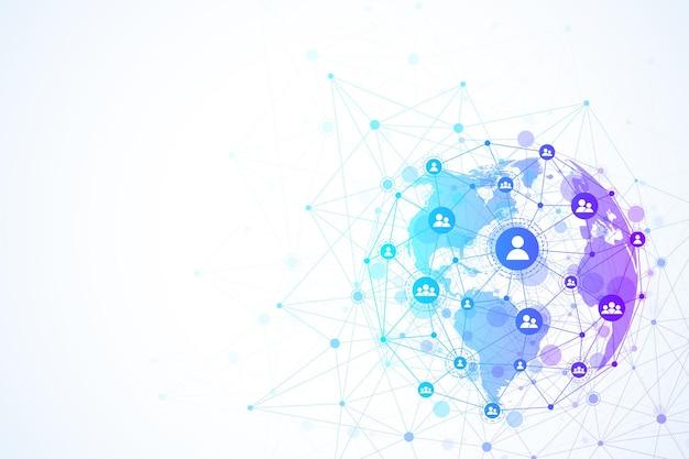 Глобальная структура сети и концепция подключения к данным. социальное сетевое общение в глобальных компьютерных сетях. интернет-технологии. бизнес. наука. векторная иллюстрация