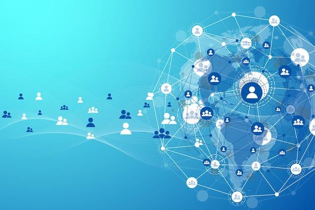 글로벌 구조 네트워킹 및 데이터 연결 개념입니다. 글로벌 컴퓨터 네트워크에서 소셜 네트워크 통신. 인터넷 기술. 사업. 과학. 벡터 일러스트 레이 션.