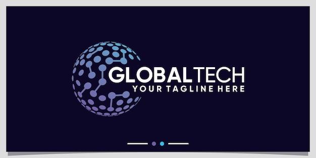 Вдохновение для дизайна логотипа global tech с штриховой графикой и точечным стилем premium векторы