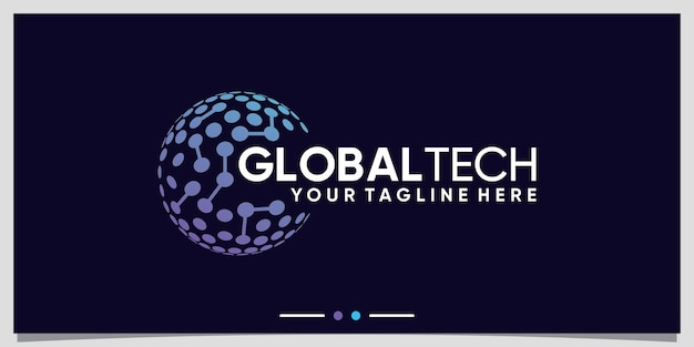 Global tech logo design inspiration with line art and dot style premium vector