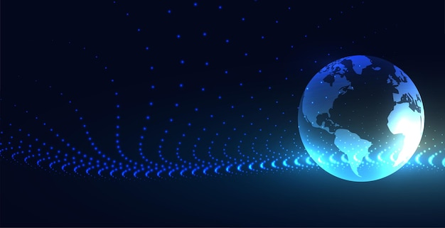 Global technology earth particle connection background