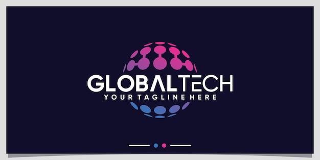 Шаблон дизайна логотипа global technology с концепцией современного стиля premium векторы