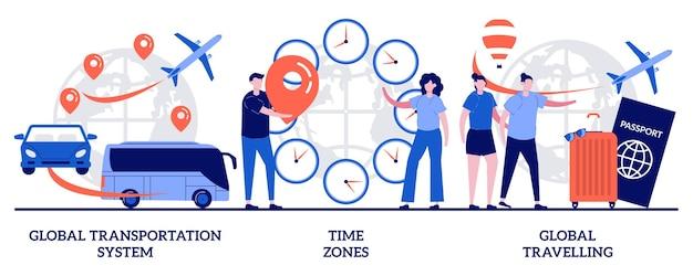 글로벌 운송 시스템, 시간대, 작은 사람들과 함께하는 글로벌 여행 개념. 국제 비즈니스 조정 벡터 일러스트 레이 션을 설정합니다. 전세계 물류, 여행사, 시차 은유.