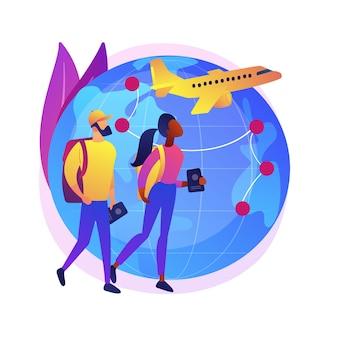 글로벌 여행 추상적 인 개념 그림입니다. 글로벌 보험, 세계 여행, 국제 관광, 여행사, 워킹 홀리데이, 럭셔리 휴가 리조트 체인