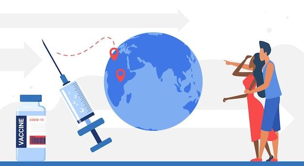 바이러스 중지 코로나바이러스 의학 개념으로부터 세계를 보호하기 위한 글로벌 백신