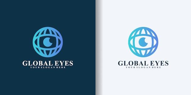 글로벌 비전 및 눈 디자인 로고