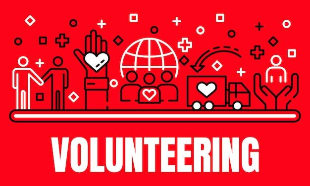 Global volunteering banner, outline style