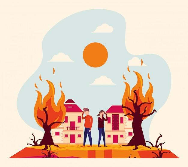 人と山火事による地球温暖化警報