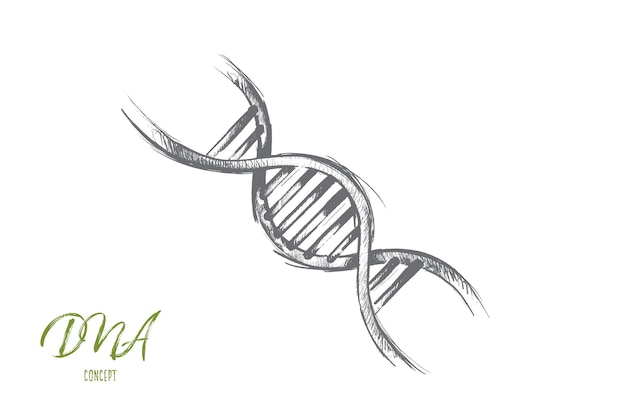 Global warming concept. hand drawn illustration of dna molecule structure. genetic and chemistry research isolated illustration.
