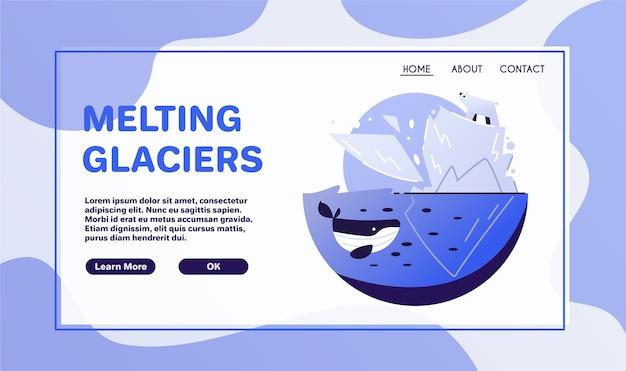 지구 온난화 개념. 스티커 또는 로고. 제로 낭비. 기후 변화. 지구 행성. 녹는 빙하
