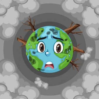 Global warming on earth with deforestation and smoke