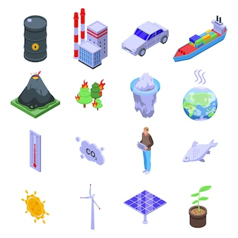 Global warming icons set.