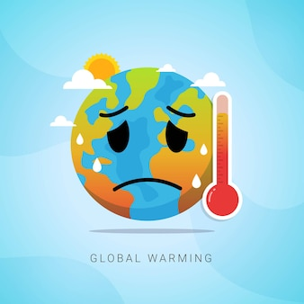 Global warming increase temperature earth with thermometer vector illustration