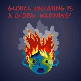 Global warming is a global warning. ecological vector poster.