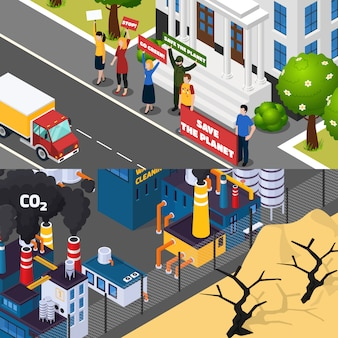 Global warming isometric banner set