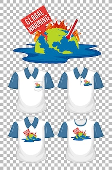 Global warming logo with set of different shirts isolated on transparent