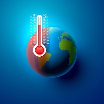 地球温暖化惑星地球温度。ベクトルイラスト
