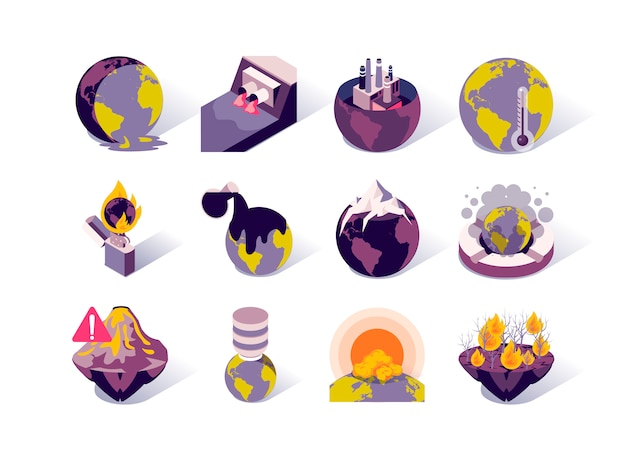 Global warming and pollution isometric icons set.