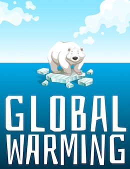 Global warming theme with polar bear