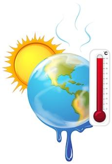 暑い太陽と地球温暖化