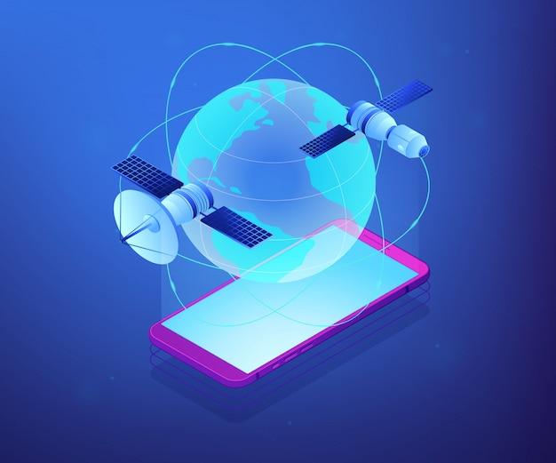 Иллюстрация концепции 3d глобальной сети изометрическая.