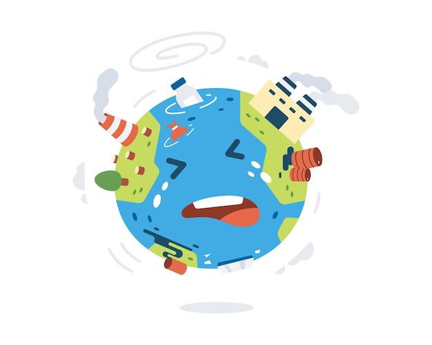 Globar warming illustration with cute earth