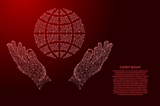 グローブは、子午線と緯線の2つの略図であり、未来的な多角形の赤い線から手を保護します。