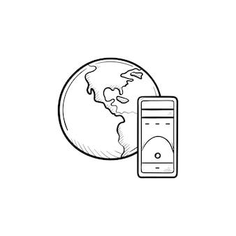 地球儀とサーバーの手描きのアウトライン落書きアイコン。グローバルコンピューティング、ネットワーキングテクノロジー、データコンセプト