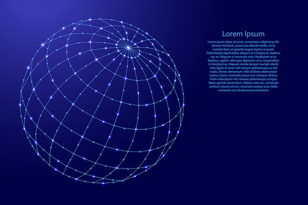 Globe or atlas a schematic representation of a planet with meridians and parallels from futuristic polygonal blue lines and glowing stars