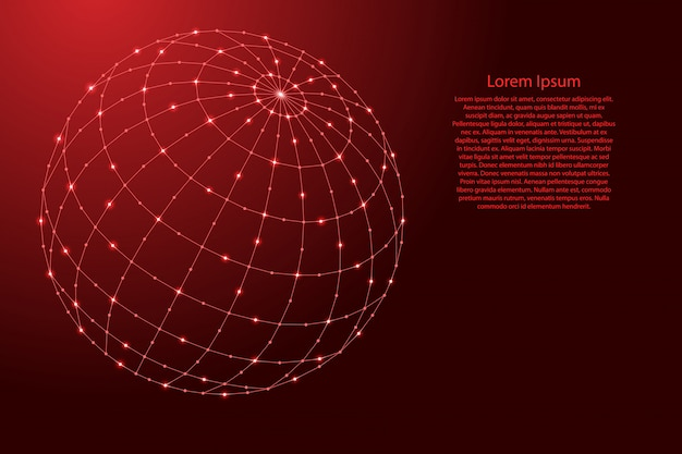 Globe or atlas a schematic representation of a planet with meridians and parallels from futuristic polygonal red lines and glowing stars