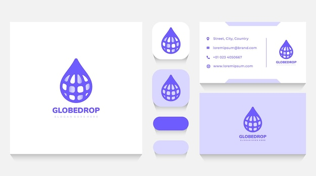 Globe drop logo template and business card