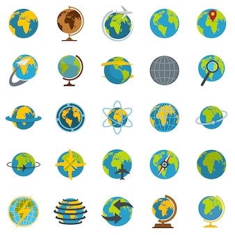 Globe earth icons set