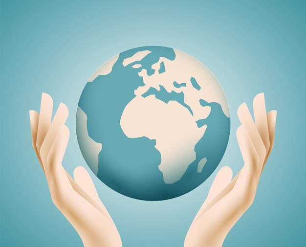 人間の手の中の地球地球惑星地球環境または生態学またはサポート コンセプト Premiumベクター