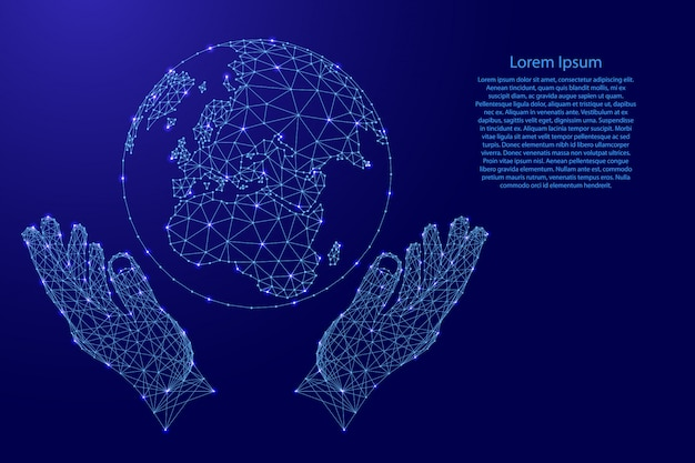 Globe of earth and two holding, protecting hands from futuristic polygonal blue lines