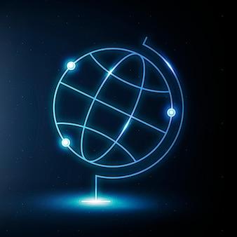 글로브 지리 교육 아이콘 벡터 블루 디지털 그래픽