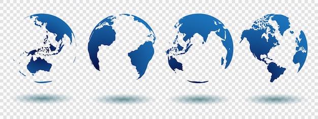 影と青い色で白い背景に分離されたグローブ地政学的押し出し