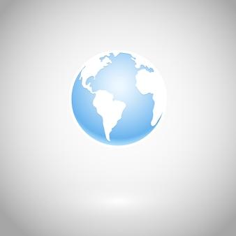 地球のアイコンと白い地図ベクトルイラスト