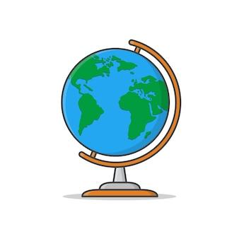 地球儀のイラスト。フラットプラネットアース。世界地図