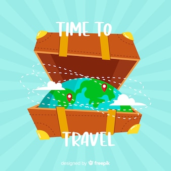Globe inside suitcase travel background